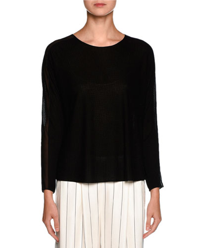 Check Sheer-Insert Sweater, Black