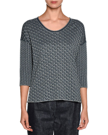 Giorgio Armani Reversible Leopard-Print 3/4-Sleeve Sweater, Dark