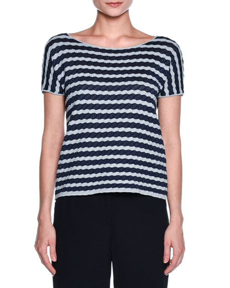 Wave-Stripe Scoop-Neck Tee, Navy/Gray