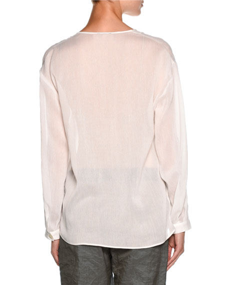 Sheer V-Neck Button-Front Blouse, White