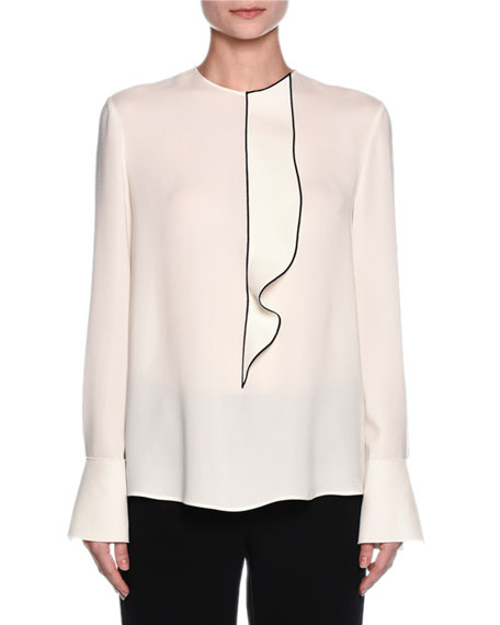 Giorgio Armani Ruffled Button-Back Tuxedo Blouse, Off White