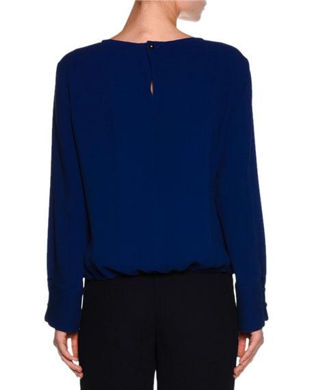 V-Neck Button-Cuff Blouse, Royal Blue