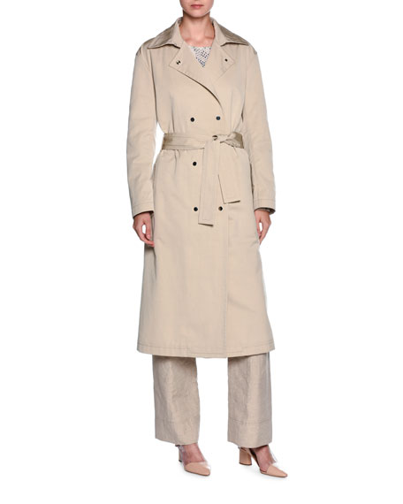 Giorgio Armani Double-Breasted Belted Trenchcoat, Beige