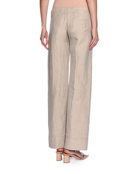 Relaxed Logo-Pocket Pants, Beige