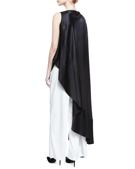 Striped Jacquard Satin Asymmetric Top, Black