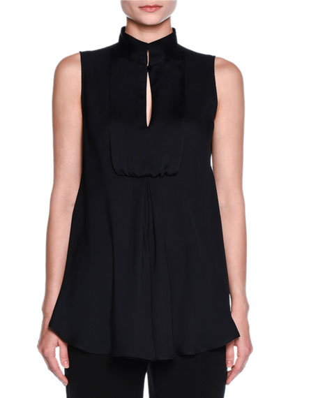 Bib-Front Sleeveless Tuxedo Blouse, Black