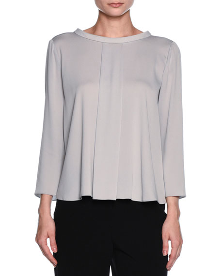 Giorgio Armani Bracelet-Sleeve Rolled-Collar Blouse, Light Gray