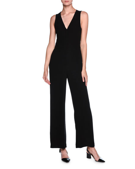 Chiffon-Cape Sleeveless Jumpsuit, Black