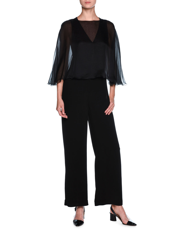Giorgio Armani Chiffon Cape Sleeveless Jumpsuit Black Neiman Marcus