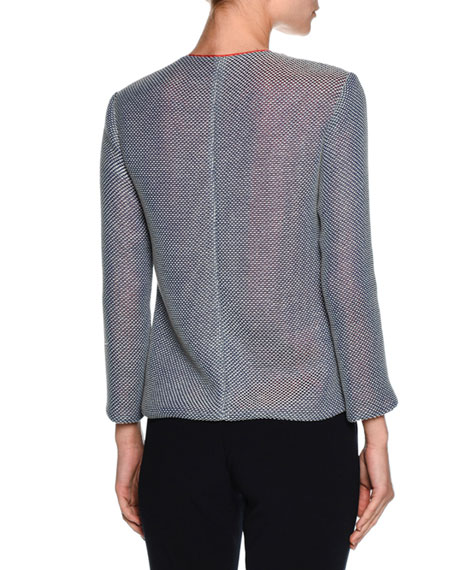 Contrast-Lined Zip Sweater Jacket, Multi