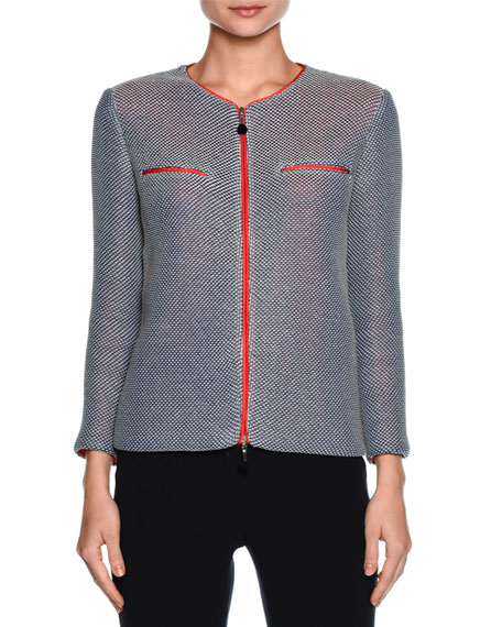 Giorgio Armani Contrast-Lined Zip Sweater Jacket, Multi