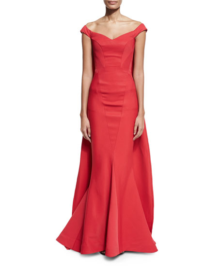 Off-the-Shoulder Cape Mermaid Gown, Cherry