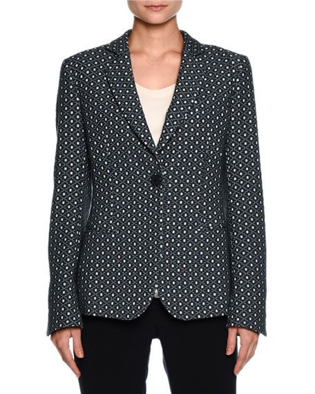 Giorgio Armani Single-Breasted Dot-Jacquard Jacket, Blue