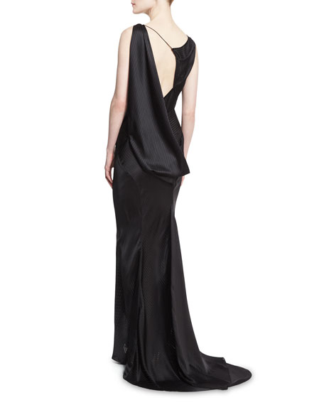 Striped Charmeuse Asymmetric Sleeveless Gown, Black