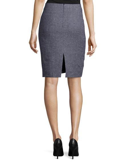 Houndstooth-Print Pencil Skirt, Fantasia