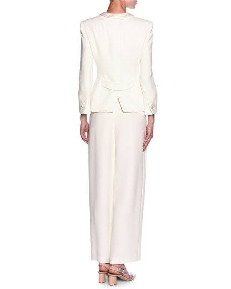 Tuxedo Jacket & Wide-Leg Pant Suit Set, White
