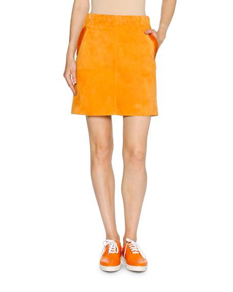 Glazed Suede A-Line Mini Skirt, Tangerine