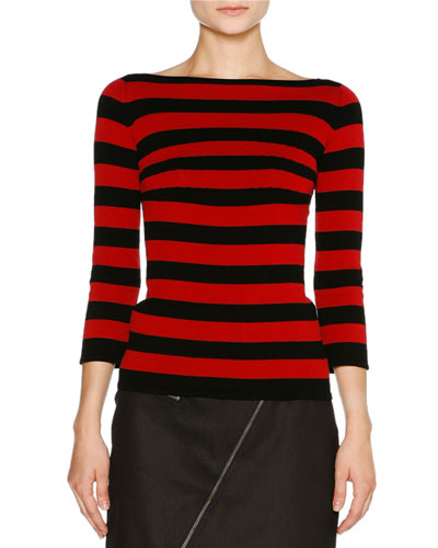 Striped Boat-Neck 3/4-Sleeve Tee, Black/Pomegranate