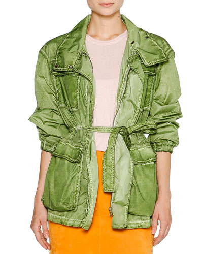 Weathered Nylon Parka Jacket, Khaki Green