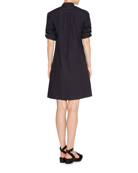 Tab-Sleeve Zip-Front Shirtdress, Blazer Navy