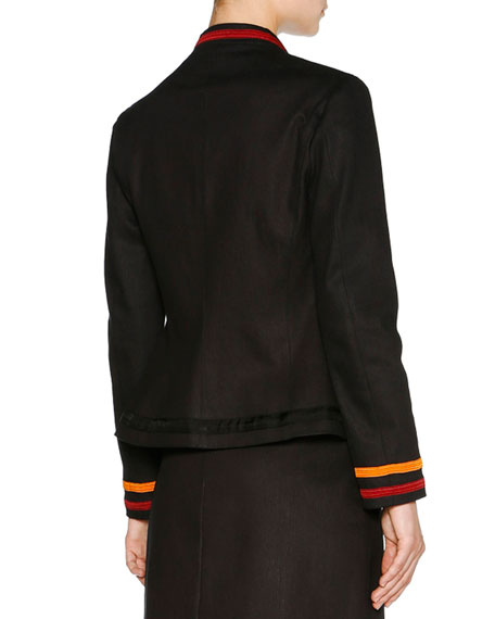 Denim Varsity Jacket w/Stripe Trim, Navy Compare Price