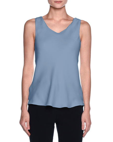 Giorgio Armani Silk Charmeuse Scoop-Neck Shell, Cornflower Blue