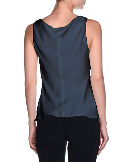Silk Charmeuse Scoop-Neck Shell, Navy