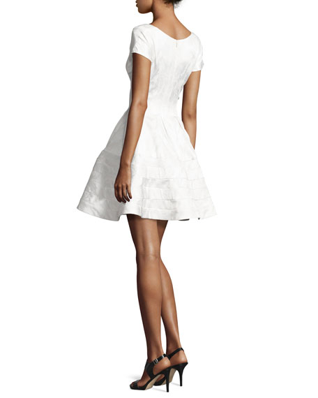Jacquard Cap-Sleeve Cocktail Dress, White