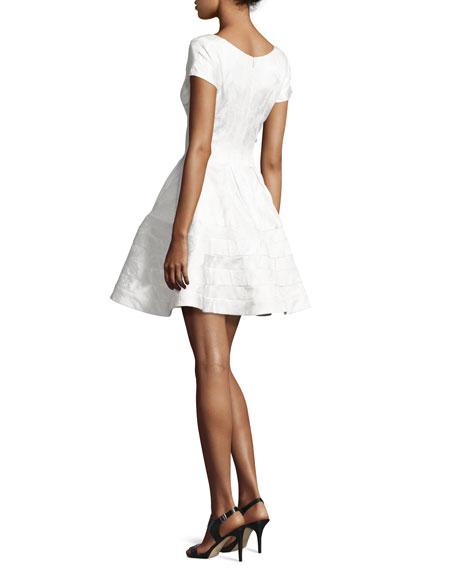 Jacquard Cap-Sleeve Cocktail Dress, White