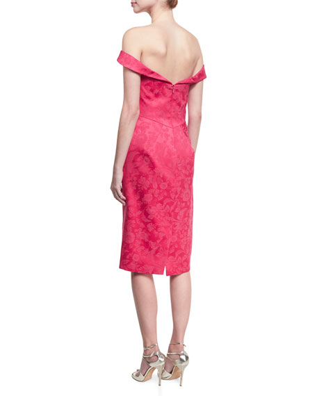 Off-the-Shoulder Floral Jacquard Cocktail Dress, Fuchsia