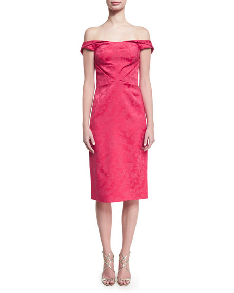 Zac Posen Off-the-Shoulder Floral Jacquard Cocktail Dress,