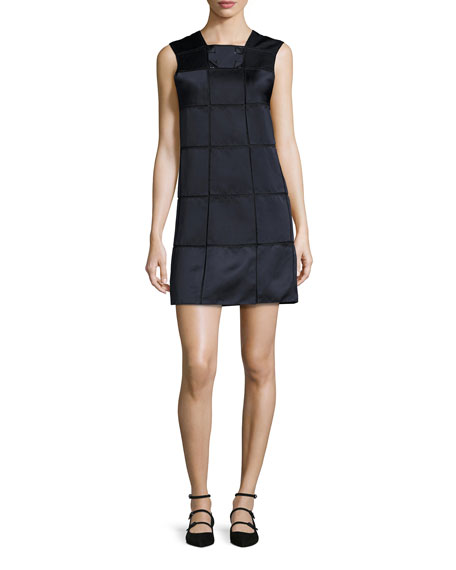 Sleeveless Windowpane Shift Dress, Midnight/Black