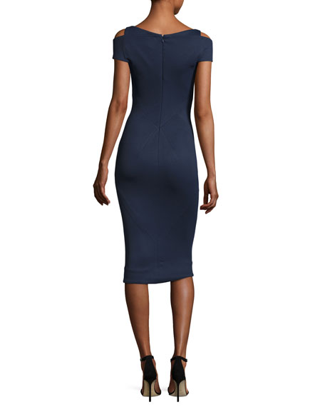 Cold-Shoulder V-Neck Sheath Dress, Navy