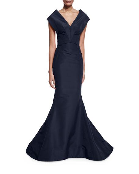 ZAC Zac Posen Mermaid Gown Black Deep V neck vcr 87633