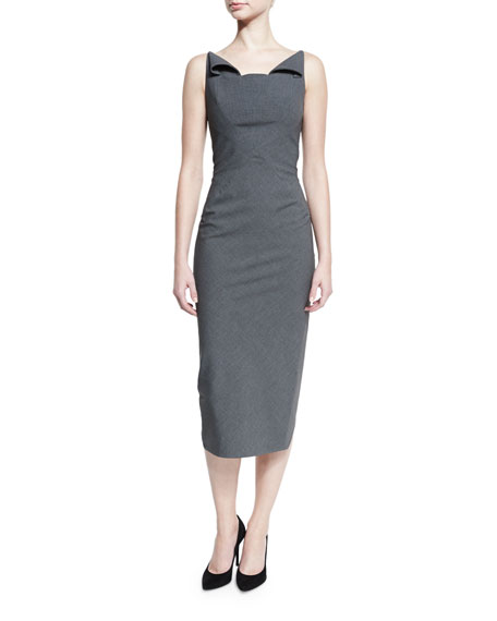 Zac Posen Sleeveless Neck-Flap Sheath Dress