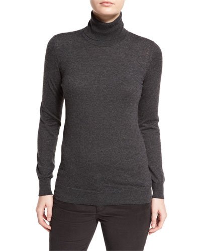 Piuma Cashmere Turtleneck Sweater, London Smoke Melange