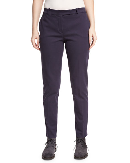 Loro Piana Finn Soft Tricotine Pants, Ocean Waves