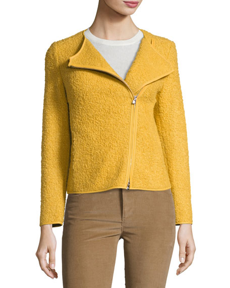 Liam Zip-Front Boucle Jacket, Lemon Creme