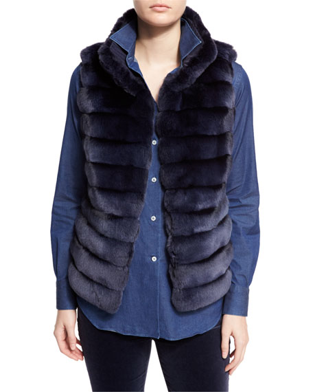 Loro Piana Jayden Horizontal-Stripe Chinchilla Vest, Ocean Waves