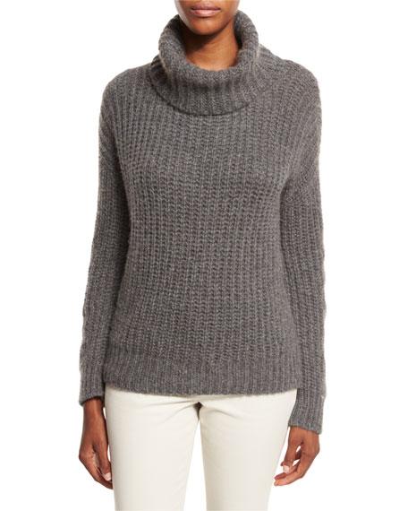 Davenport Cashmere Turtleneck Sweater, Dark Gray