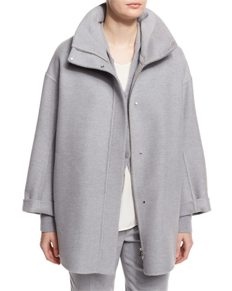 Ralph Double-Face Cashmere Coat, Powder Angel Melange