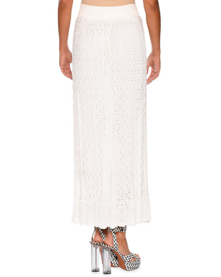 Elastic-Waist Lace-Knit Maxi Skirt, White
