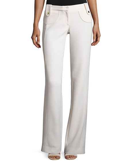 Derek Lam Button-Tab Slim Flared Trousers, White