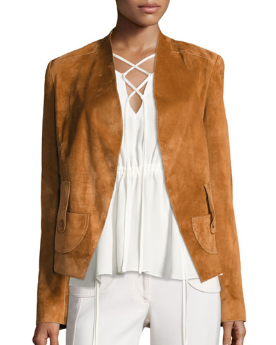 Suede Belted Wrap Jacket, Chestnut