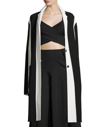 Colorblock Notched-Collar Long Coat, White/Multi