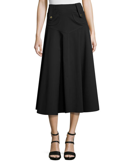 Derek Lam Button-Tab Flared Midi Skirt, Black
