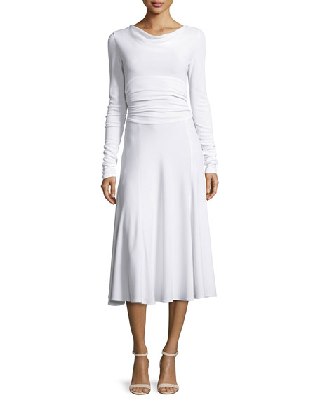 Derek Lam Long-Sleeve Cowl-Neck Cummerbund-Waist Dress, White