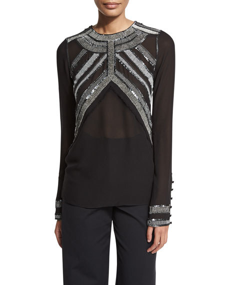 Derek Lam Embroidered-Yoke Long-Sleeve Blouse, Black