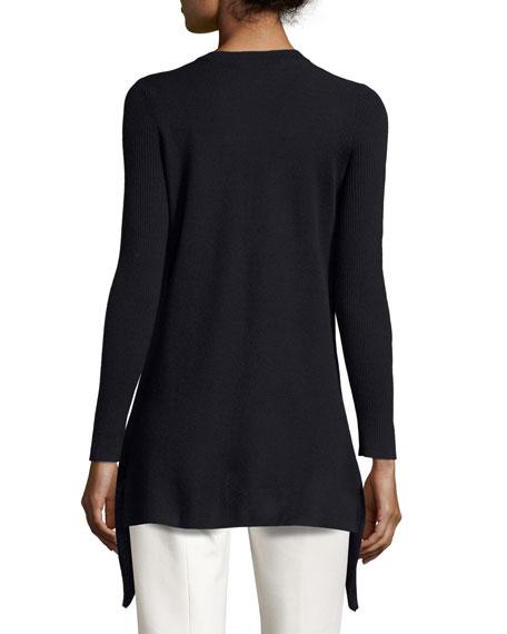 Long-Sleeve Crewneck Asymmetric Sweater, Navy Sale