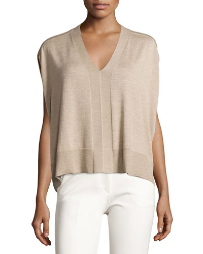 Colorblock Sleeveless Cocoon Sweater, Oatmeal Melange Top Reviews
